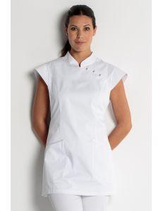 Estola para comercio y estética con vivos de raso blanca dyneke