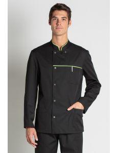 chaqueta de hostelería y comercio negra con un vivo verde