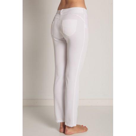 Pantalón estetica y farmacia señora push up blanco dyneke