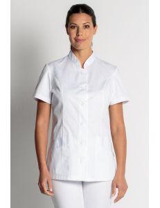 Chaqueta basica blanca manga corta dyneke