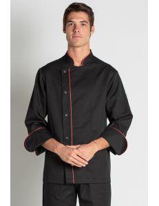 Chaqueta para chef negra con vivo rojo dyneke