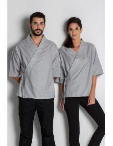 Kimono para restauración, estética y spa unisex gris dyneke