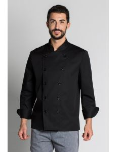 Chaqueta de cocinero básica con doble botonadura negra