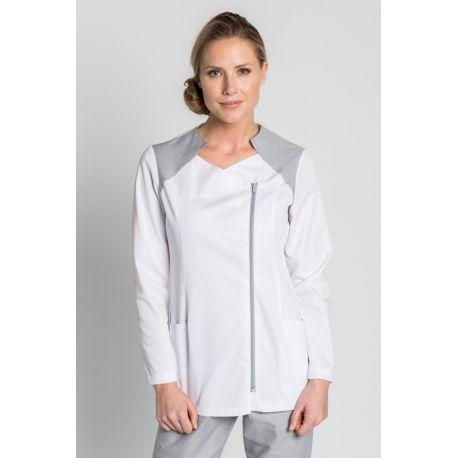 Chaqueta blanca manga larga detalle gris