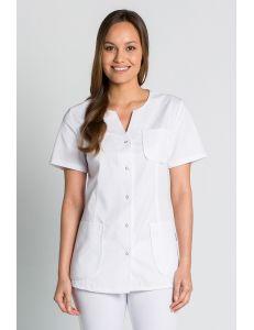 Chaqueta para comercio, sanidad y estética en manga corta blanca Dyneke