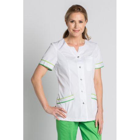 Chaqueta para sanidad, comercio y estética con vivos en verde Dyneke
