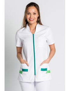 Chaqueta blanca en manga corta con detalles verdes