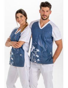 Blusón sanidad microfibra azul Dyneke