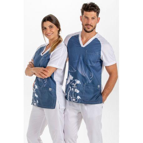 Blusón veterinario microfibra azul