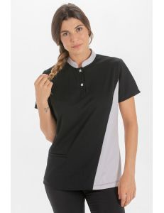Polo negro mujer detalle gris