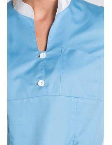 Casaca sanidad azul cuello mao