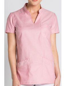 Blusón para sanidad rosa cuello mao Dyneke