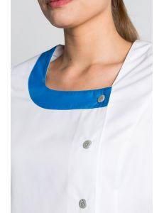 Casaca para sanidad de manga corta con contraste azul Dyneke