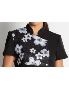 Chaqueta para comercio y estética con estampado 'Flores' dyneke