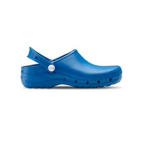 zueco transpirable azul para comercio, sanidad y spa
