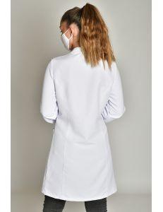Bata laboratorio microfibra blanca mujer