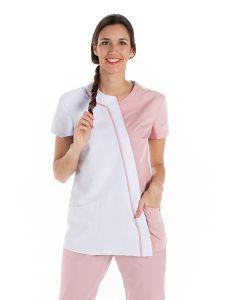 Chaqueta mujer microfibra asimetrica rosa