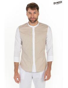Camisa hombre manga 3/4 beig