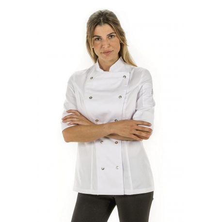Chaqueta para cocinera de manga 3/4 blanca dyneke