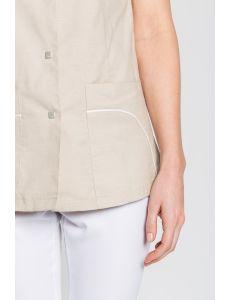 Chaqueta para sanidad, estética y comercio escote alto beige Dyneke